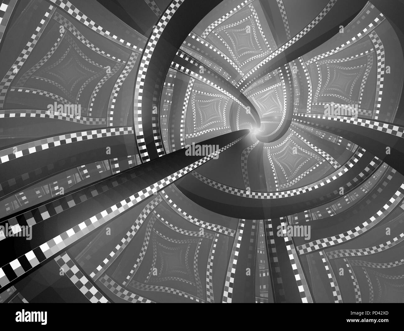 Blue technological singularity fractal, computer generated abstract background - Stock Image