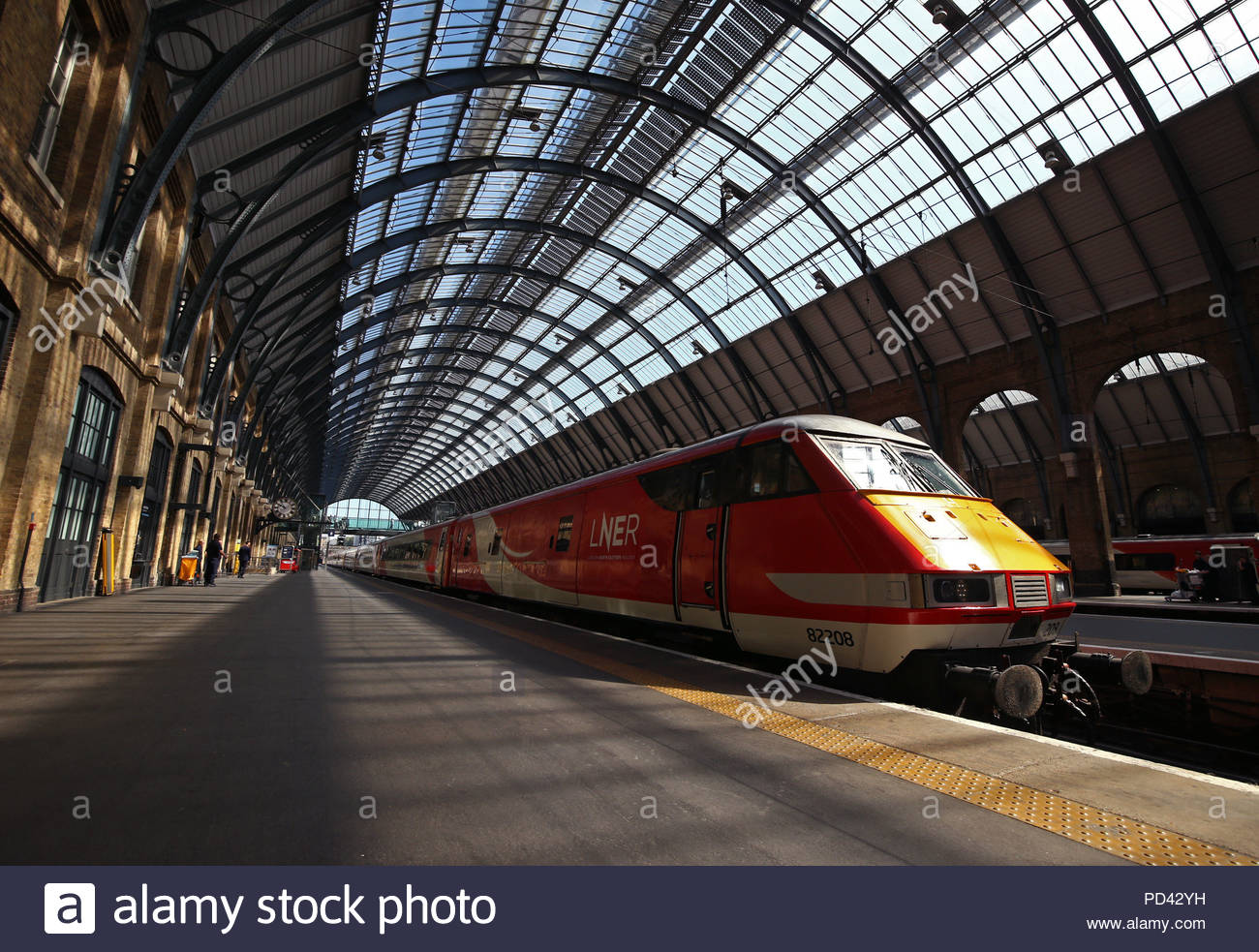 File photo dated 25/06/18 of a London North Eastern Railway (LNER) train at Kings Cross station in London. Punctuality for London-Scotland trains on the East Coast Main Line reached a seven-year low after services were returned to public control, figures show. - Stock Image