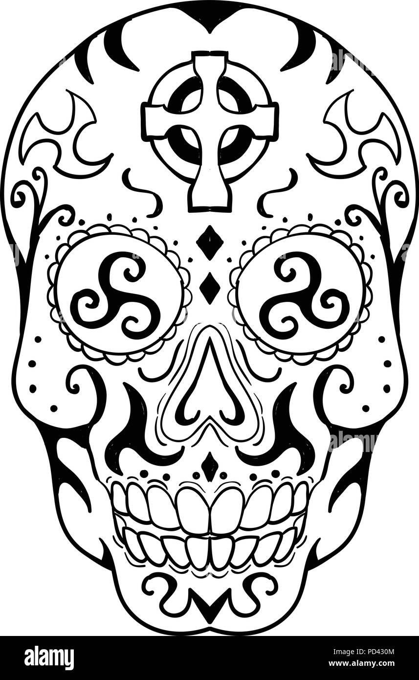 Calavera Tattoo Flash tattoo style illustration of mexican skull or calavera, a