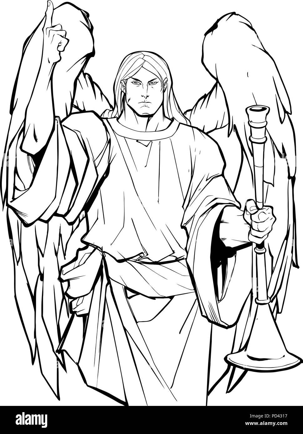Archangel Gabriel Line Art - Stock Image