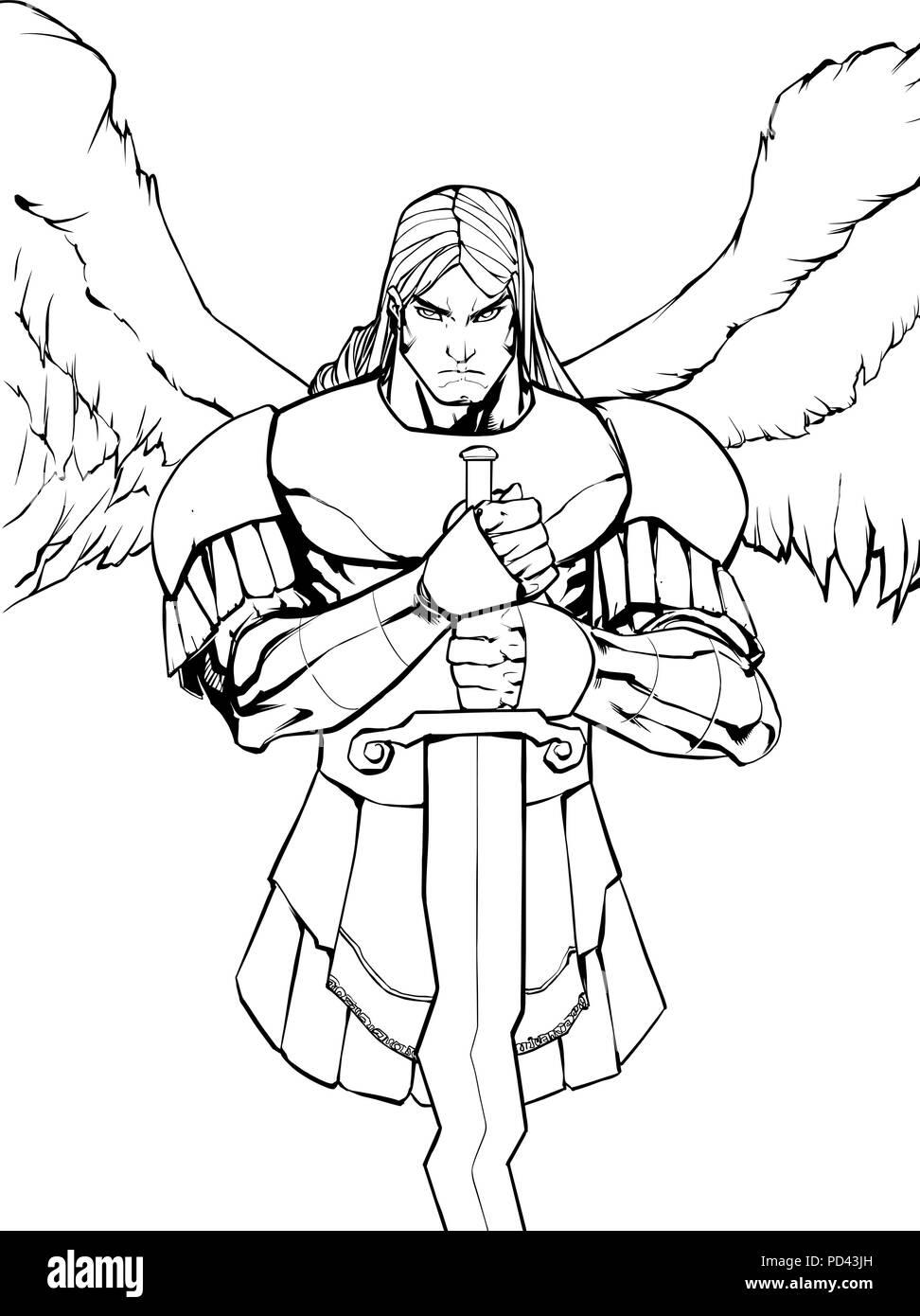 Archangel Michael Portrait Line Art - Stock Vector