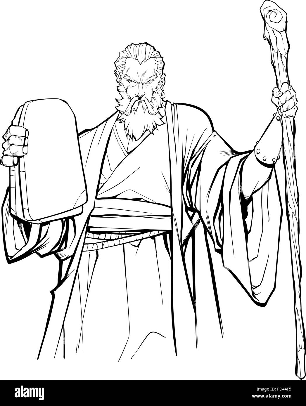 Moses Line Art - Stock Image