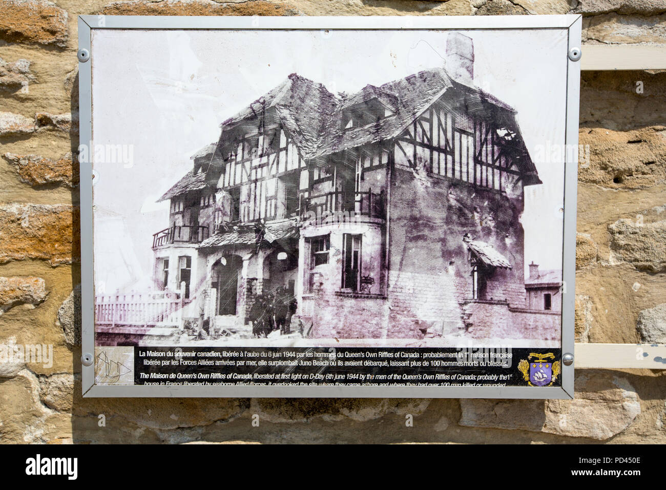 A Photograph Of The Canada House Probably The First House To Be Liberated From D Day On Juno Beach Bernieres Sur Mer Normandy France Stock Photo Alamy