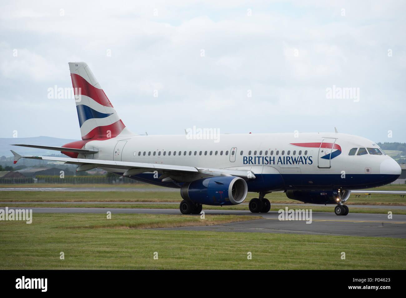 British Airways shuttle service to London Heathrow seen at Glasgow International Airport, Renfrewshire, Scotland. - Stock Image