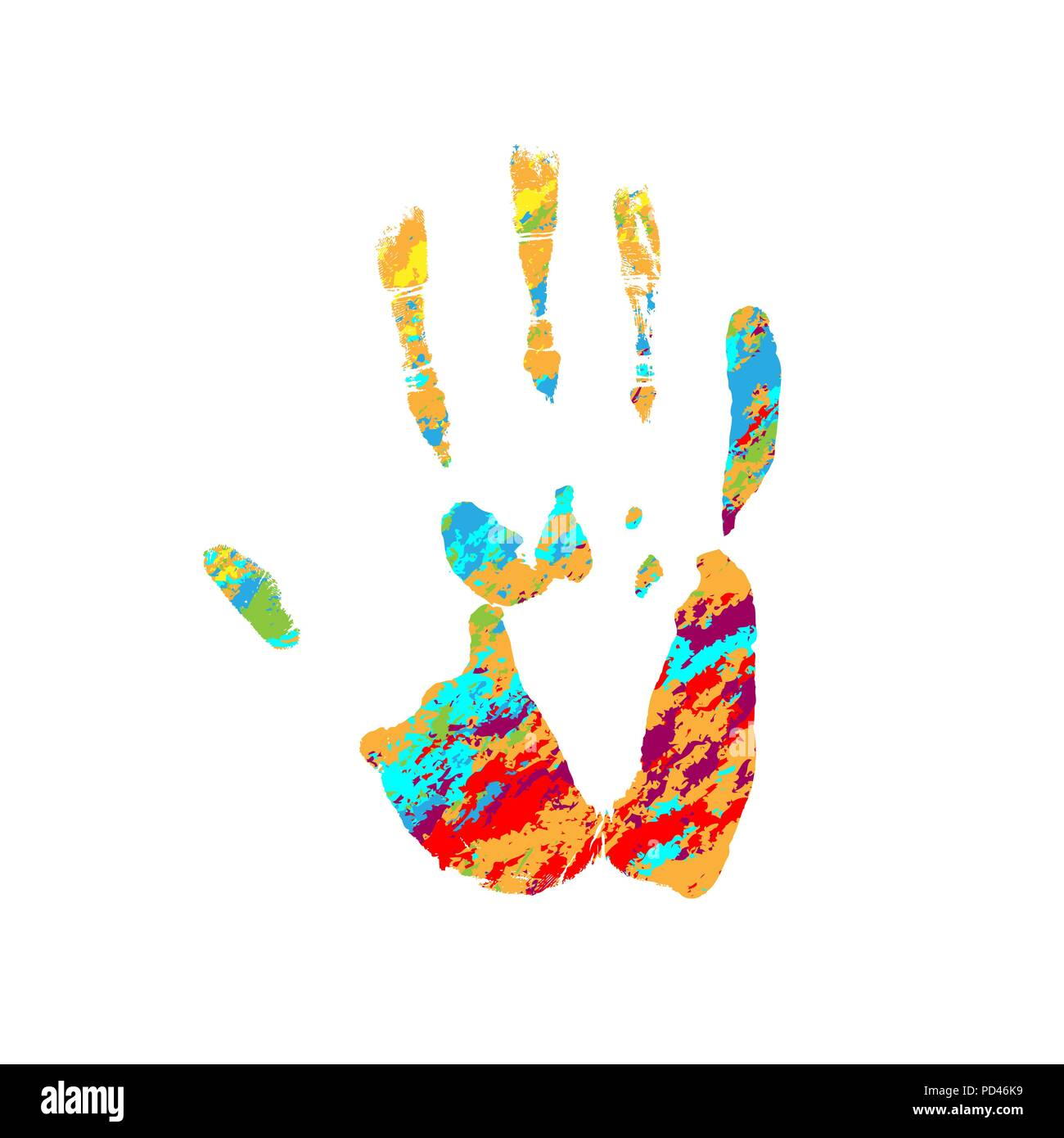 Grunge human hand different colors isolated on white background - Stock Vector