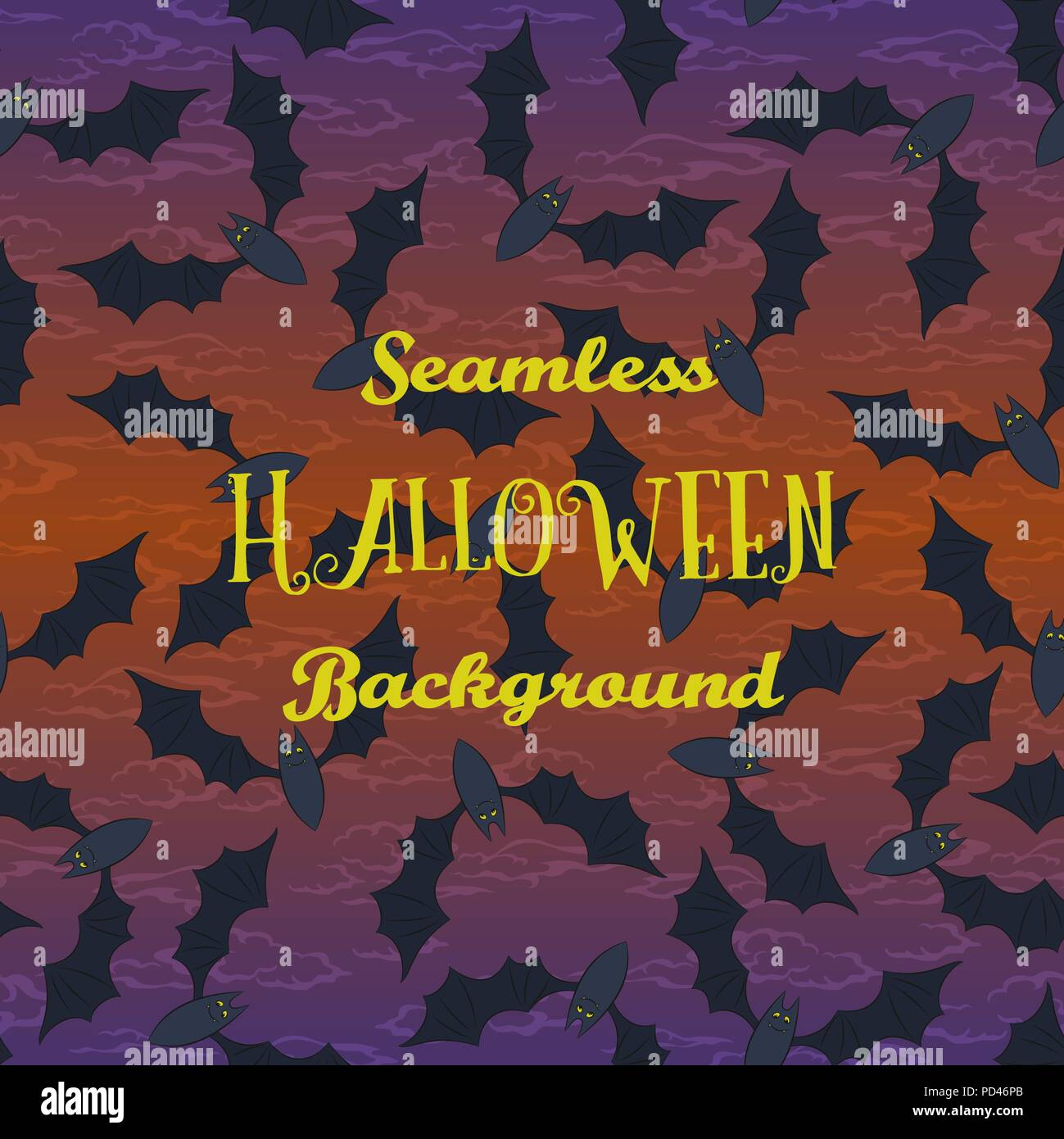 Seamless Halloween Holiday Pattern, Bats Fly in the Night Sky. Vector Stock Vector