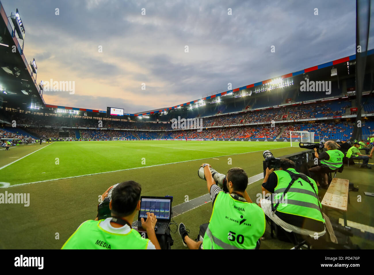 Basel, Switzerland - August 1, 2018: Interior view of the full at St. Jakob-Park Stadium during the UEFA Champions League match between PAOK vs Basel - Stock Image
