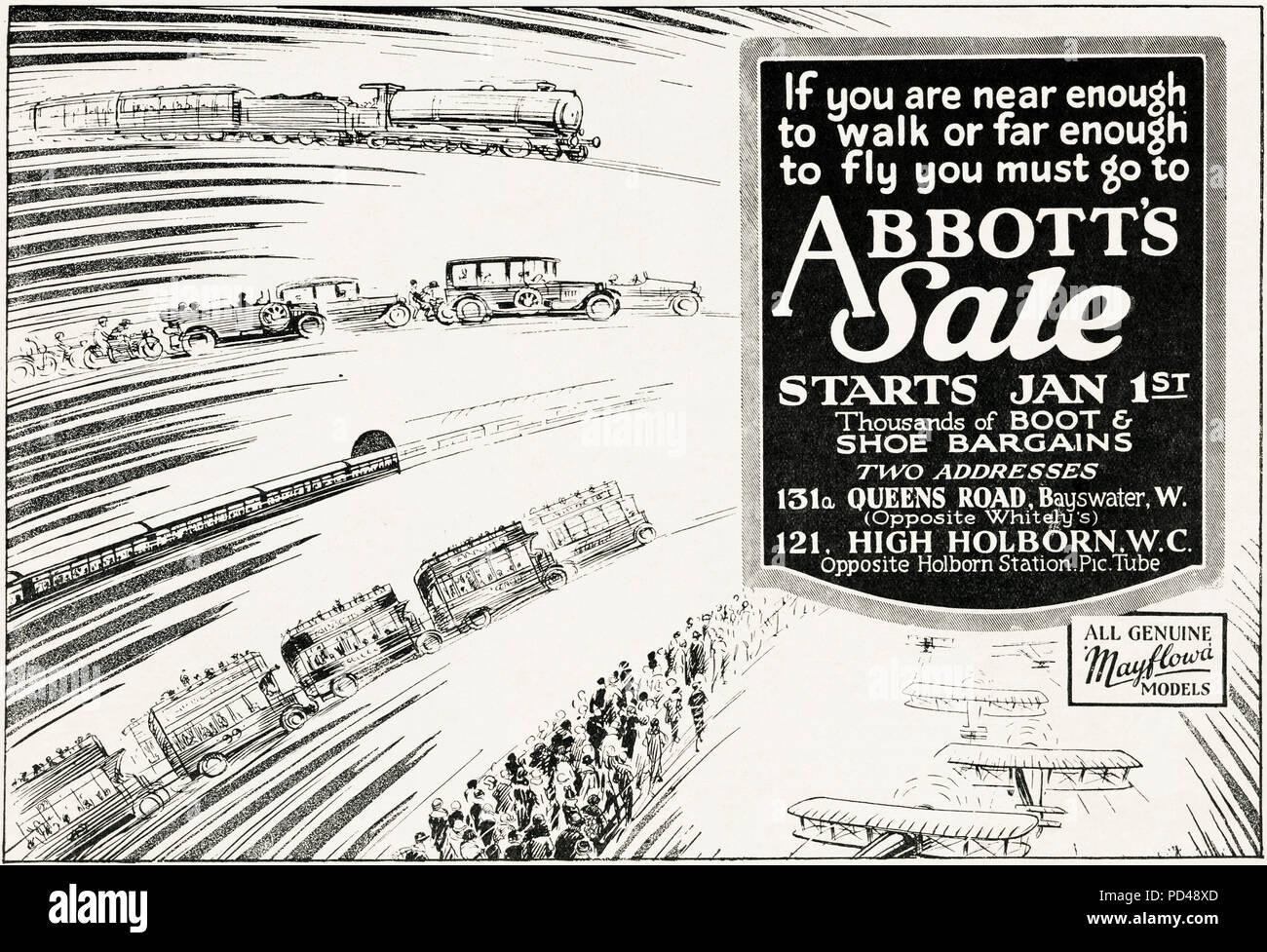 1920s old vintage original advert advertising Abbott's shoe