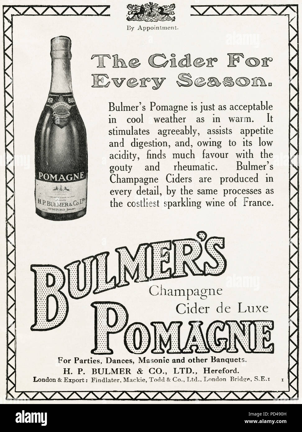 1920s old vintage original advert advertising Bulmer's Pomagne Champagne Cider by Royal Appointment in English magazine circa 1924 Stock Photo