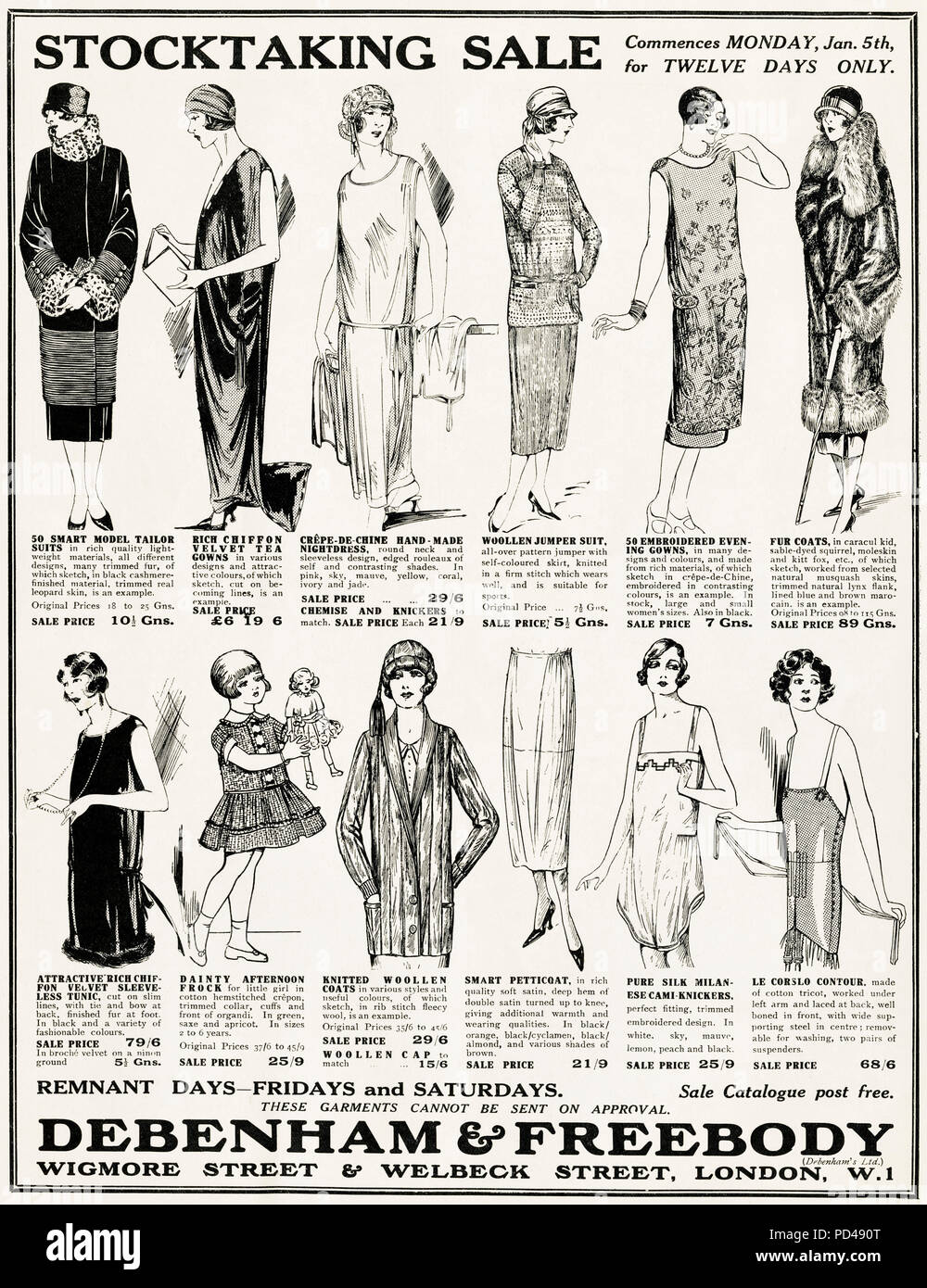 1920s old vintage original advert advertising ladies fashion stocktaking sale at Debenham & Freebody of London in English magazine circa 1924 - Stock Image
