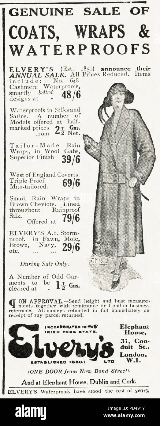 1920s old vintage original advert advertising Elvery's annual sale of ladies waterproof coats in English magazine circa 1924 - Stock Image