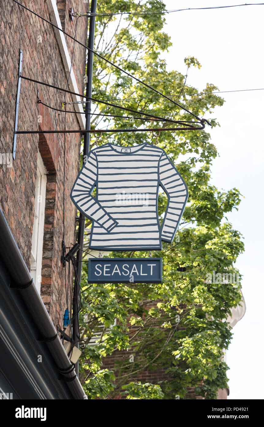 Seasalt brand quirky clothes store sign in York, Yorkshire, UK - 4th August 2018 - Stock Image