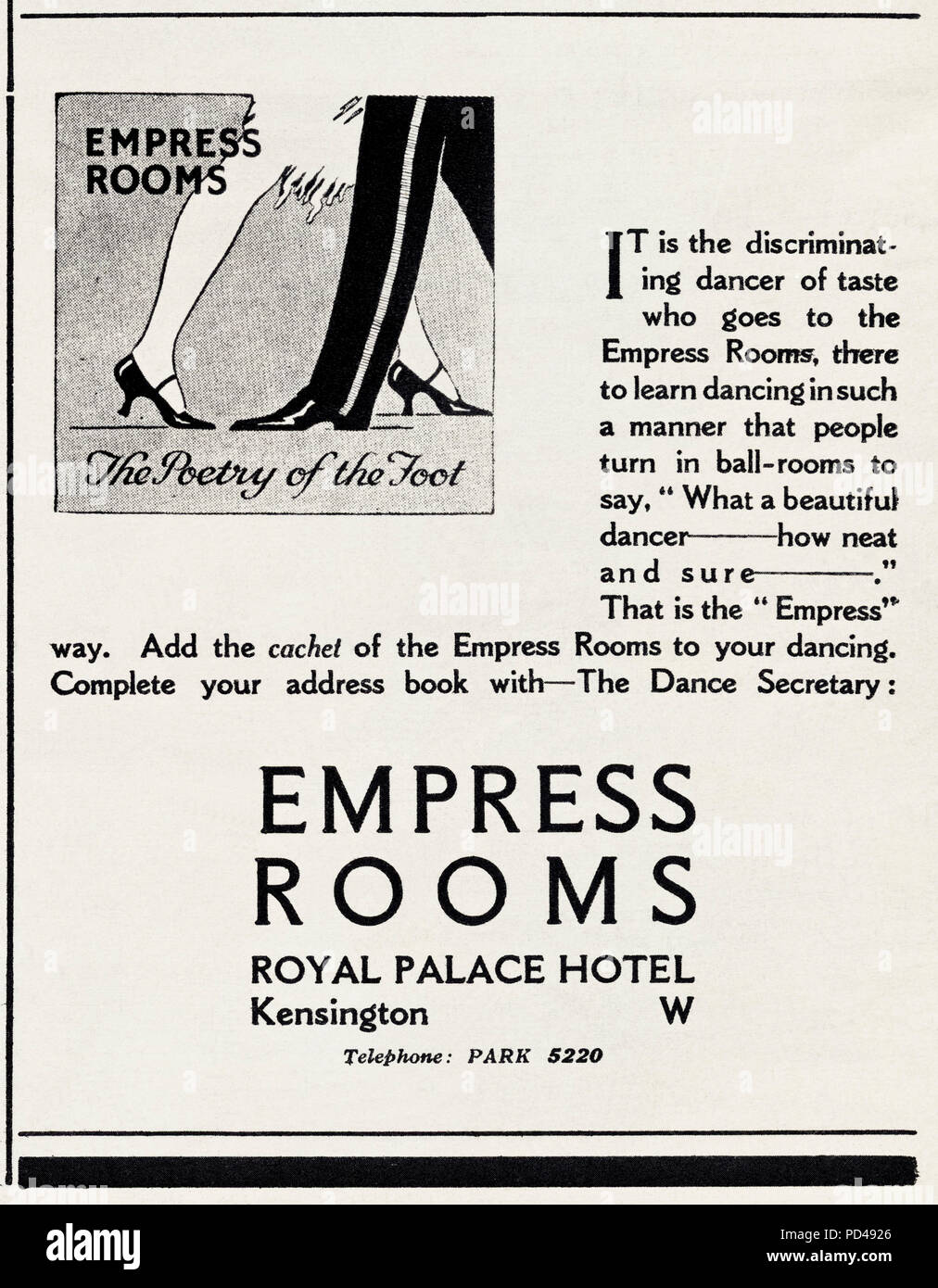 1920s old vintage original advert advertising dancing at the Empress Rooms at Royal Palace Hotel Kensington London England UK in English magazine circa 1924 - Stock Image