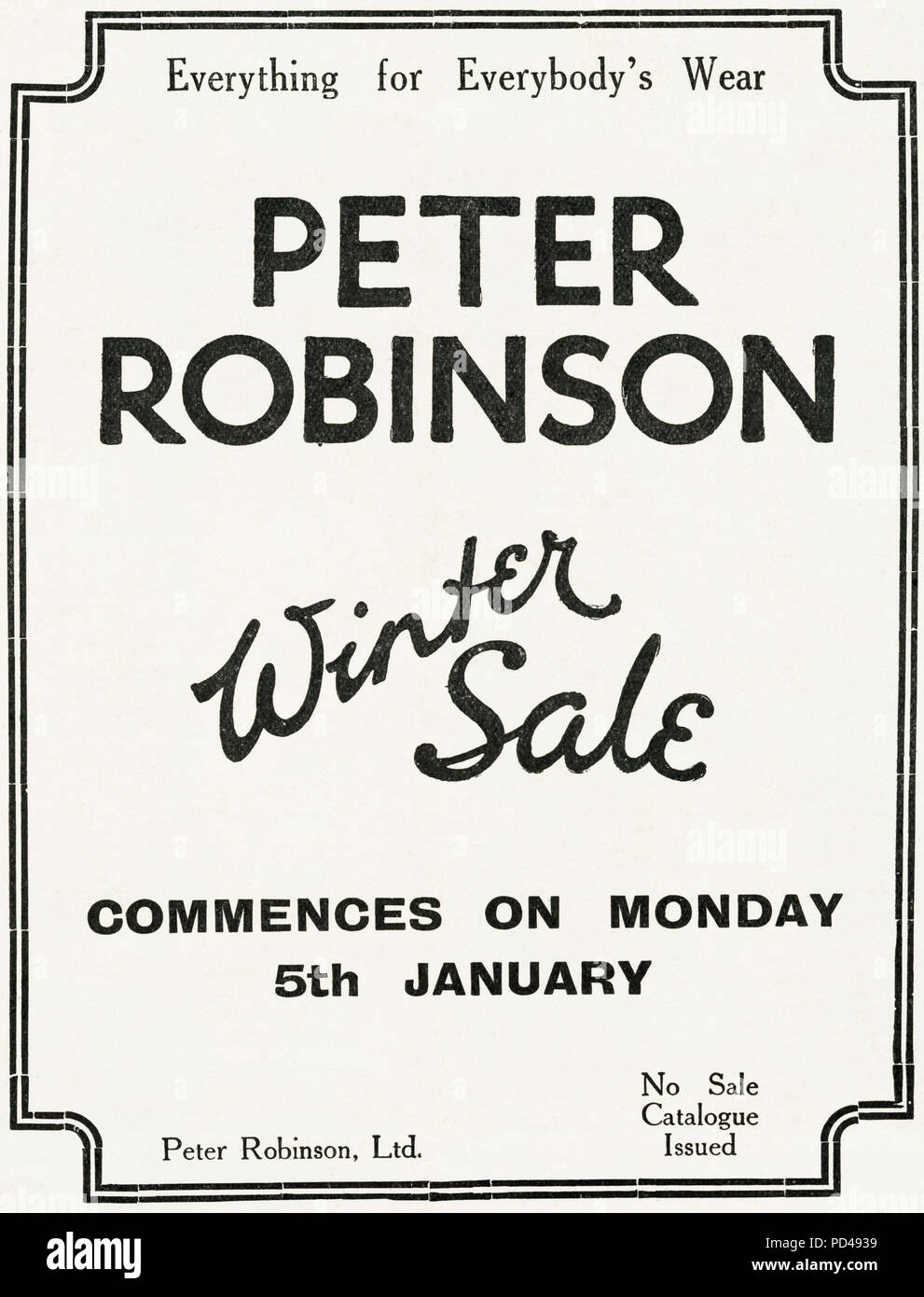 1920s old vintage original advert advertising Peter Robinson winter sale of clothing in English magazine circa 1924 - Stock Image