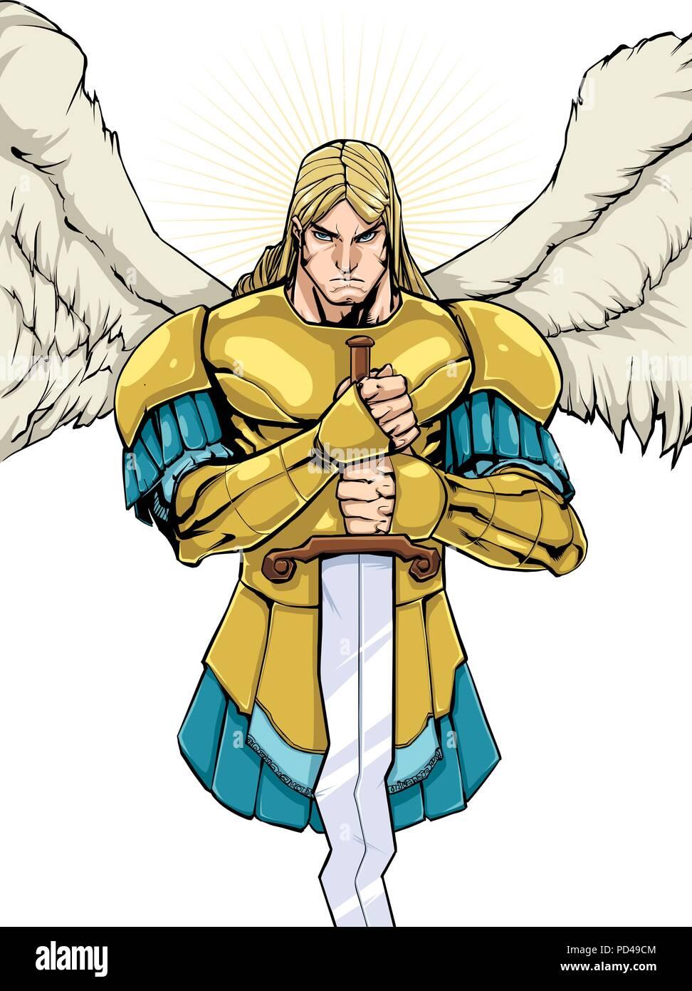 Archangel Michael Portrait  - Stock Vector