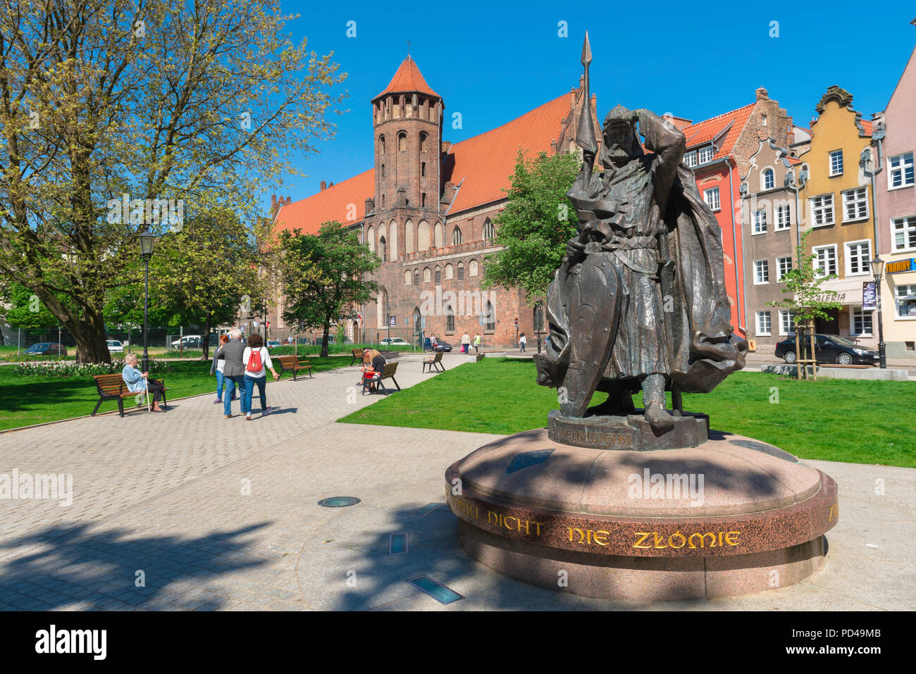 Gdansk city center, statue of the Pomeranian Duke Swietopelk Wielki sited in a small park in the historical Old Town area of Gdansk, Poland. Stock Photo
