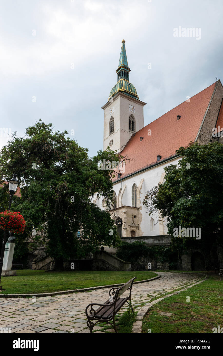 15 century Gothic Katedrála svätého Martina/St Martin's Cathedral (Bratislava) wears a Baroque spire. Once the coronation church of  Hungarian kings. - Stock Image