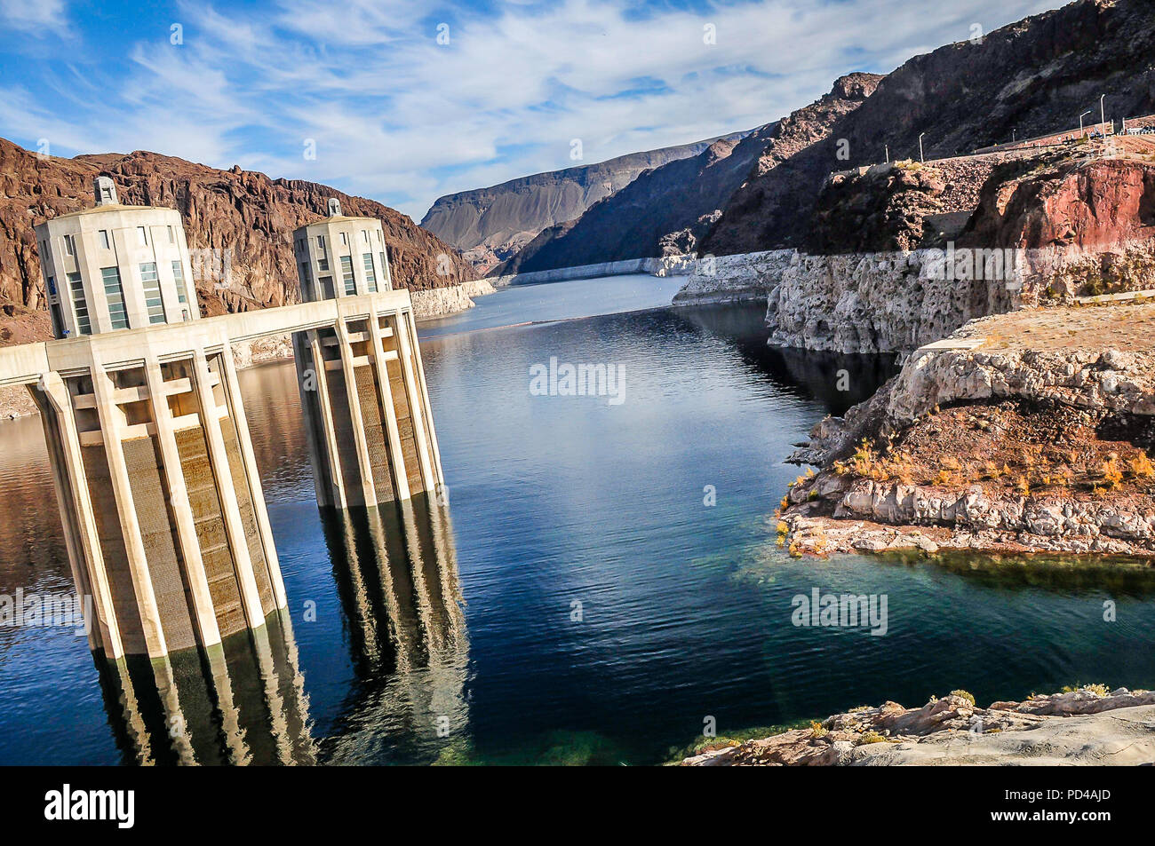 Hoover Dam and Lake Mead Stock Photo