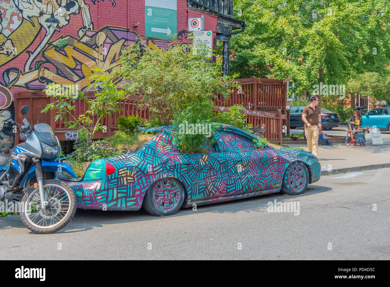 Abandoned car repurposed to become living art with trees and grass planted on it in the Kensington District of Toronto. - Stock Image
