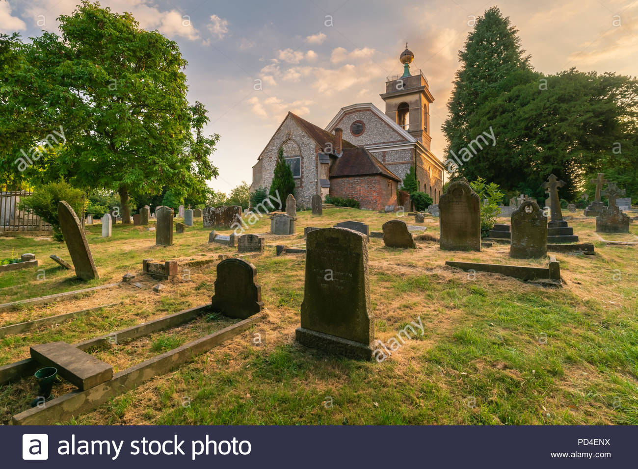 St Lawrence Church on West Wycombe Hill in the Chiltern Hills, Buckinghamshire - Stock Image