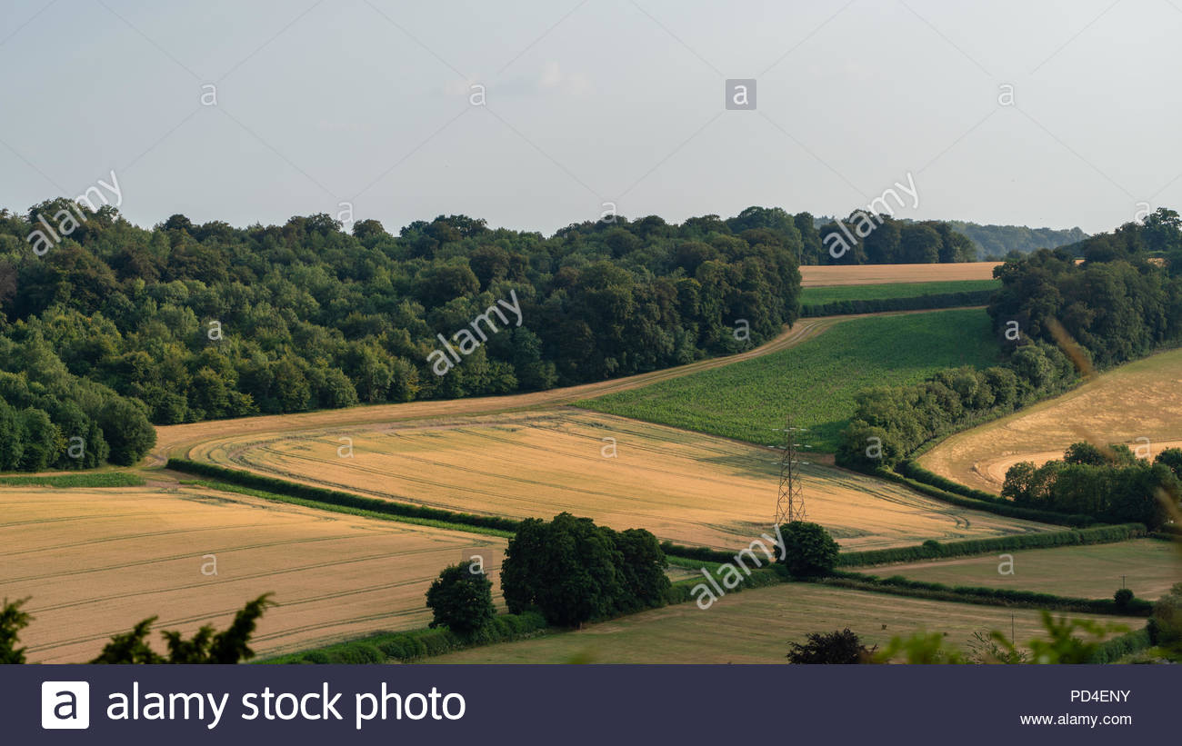 A view of farm fields from West Wycombe Hill in the Chiltern Hills, Buckinghamshire - Stock Image