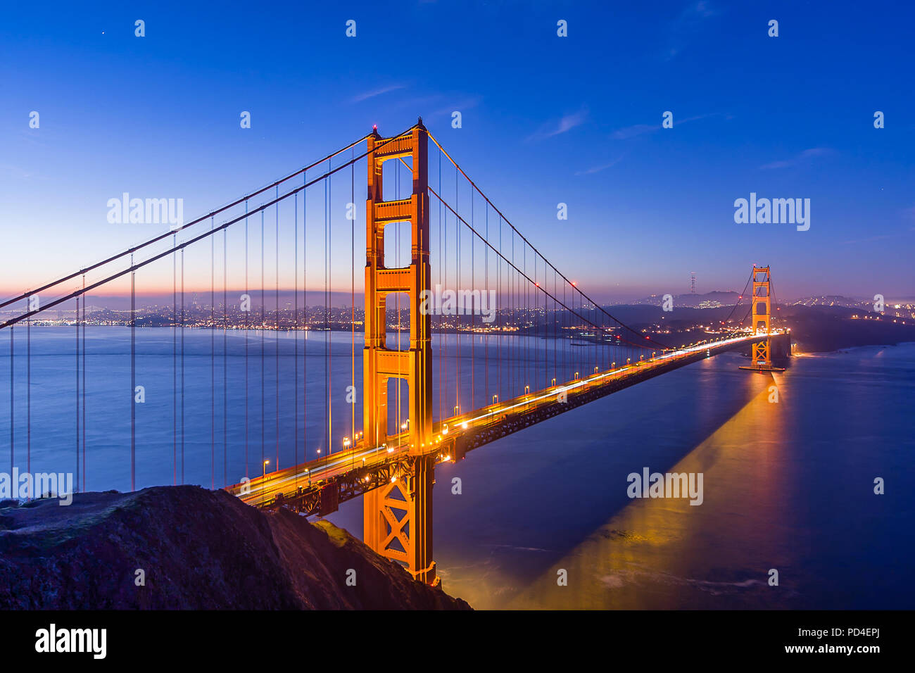 Blue Hour from Battery Spencer - Stock Image