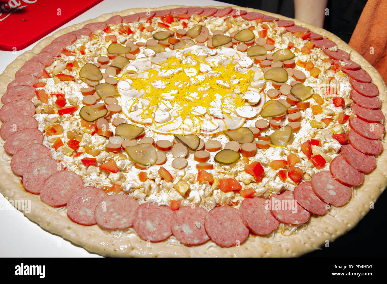 very large pizza, burger, patty, second course in the restaurant, fast food, food, healthy food Stock Photo