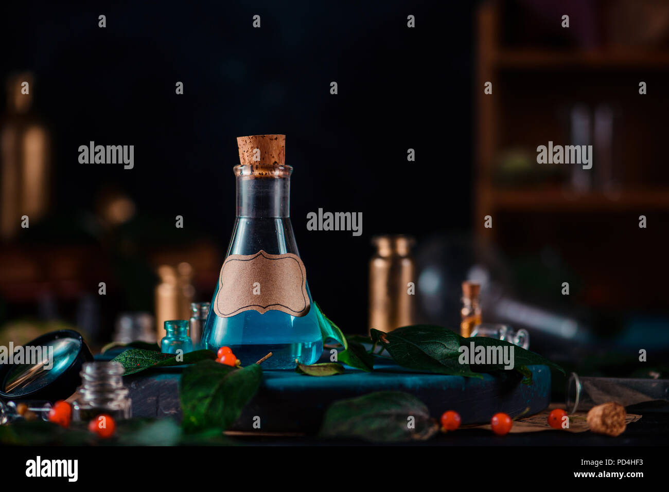 Modern witchcraft concept header. Blank label on a magic potion bottle. Potions, berries, herbs and occult equipment. Magical still life with copy space on a dark background. - Stock Image