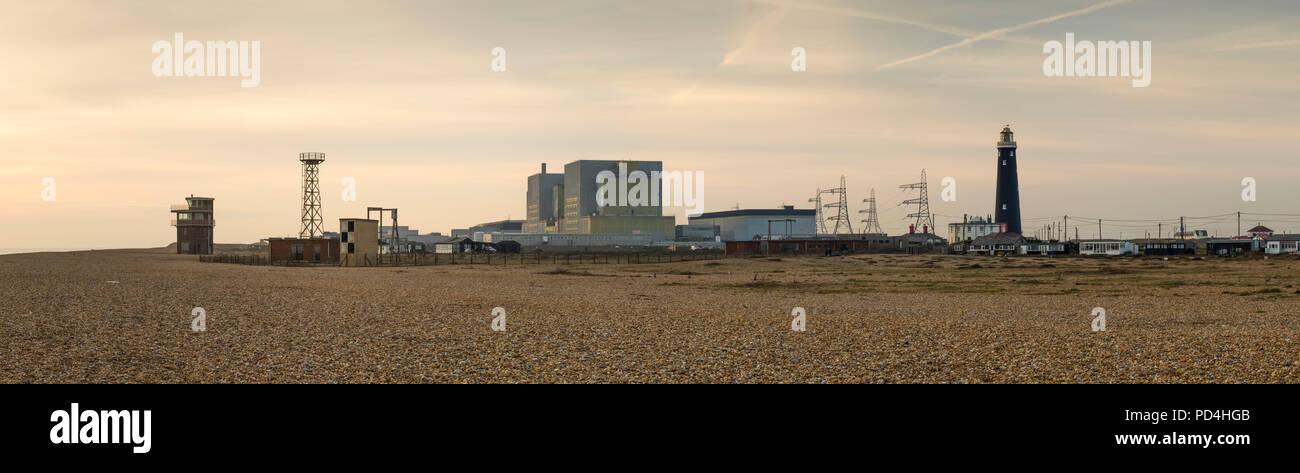 Panoramic view of the nuclear power station at Dungeness on the Kent coast. - Stock Image