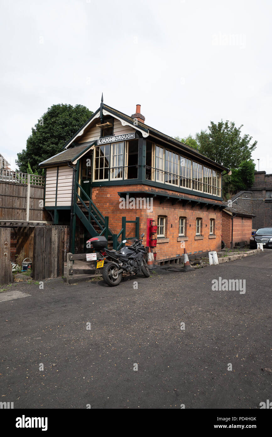 Old Signal box at Loughborough Station on the Great Central Railway heritage line. - Stock Image