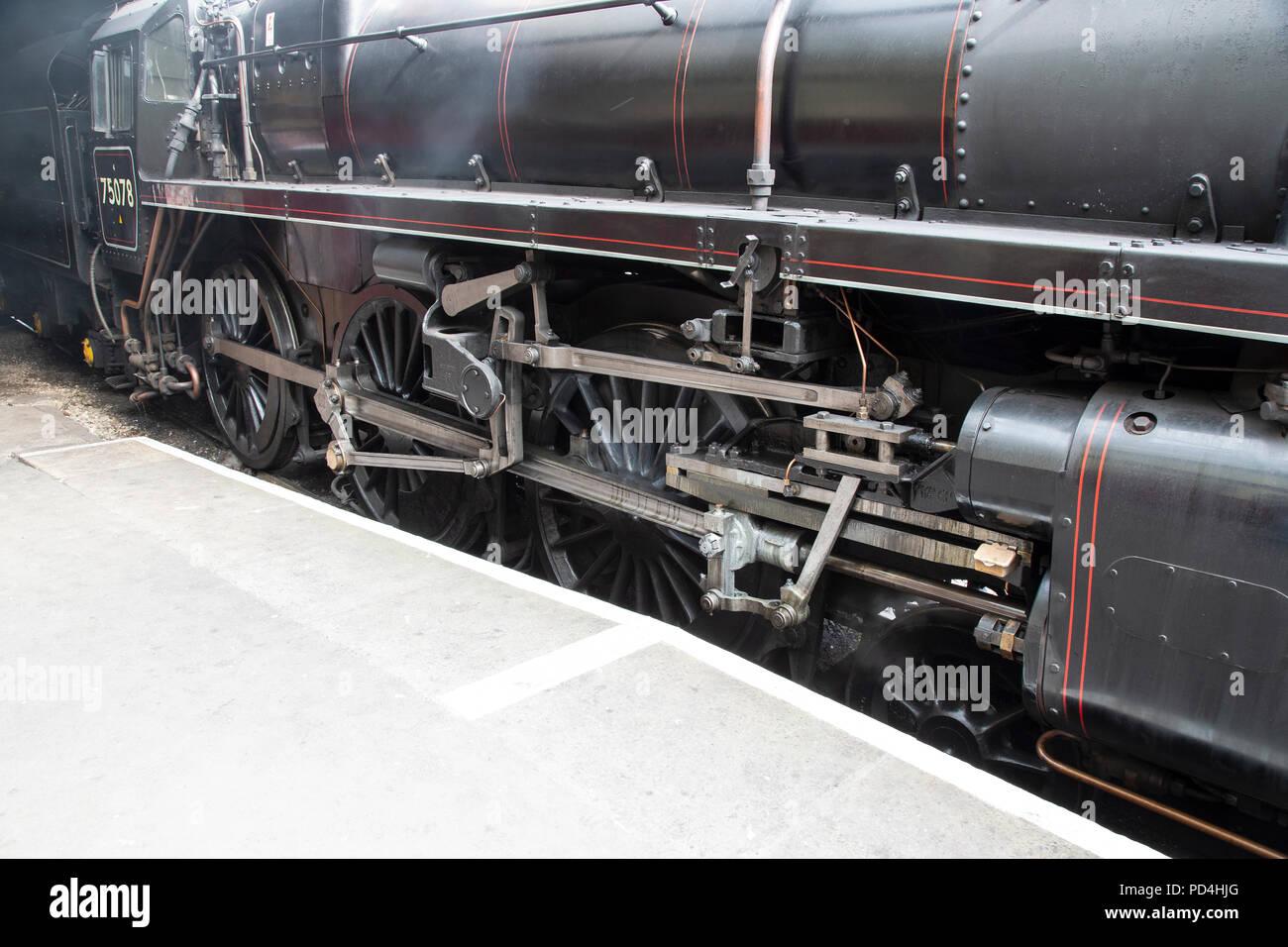 Walschaerts valve gear (piston valves) on 4MT Steam Locomotive 75078 - Stock Image