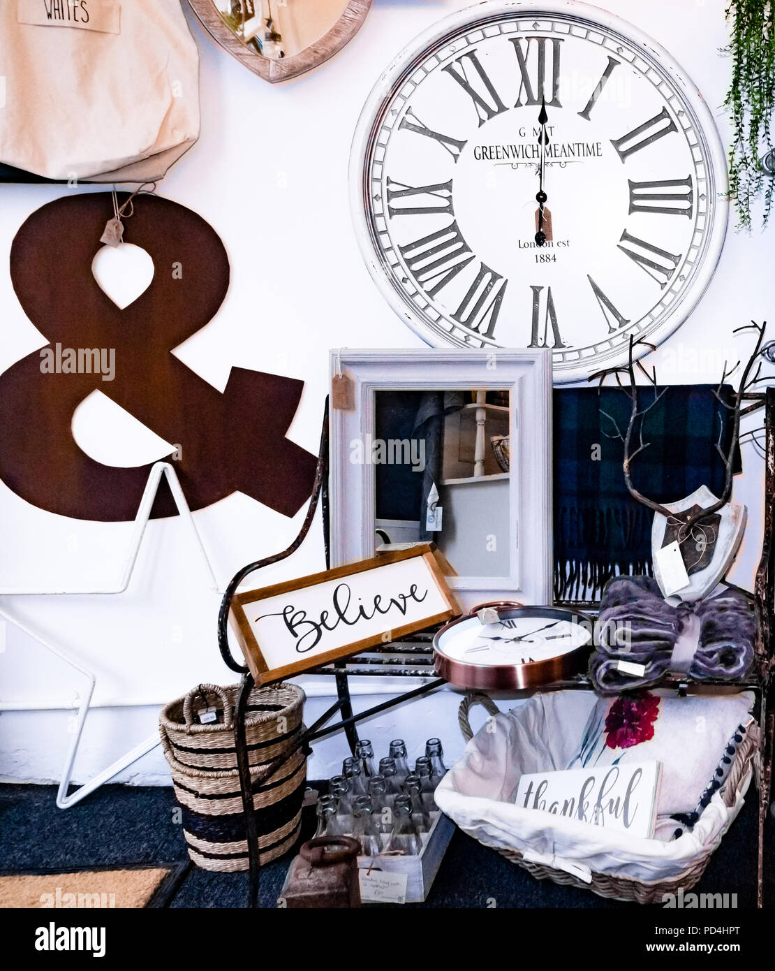 A display of home decor in an independently trading shop. - Stock Image