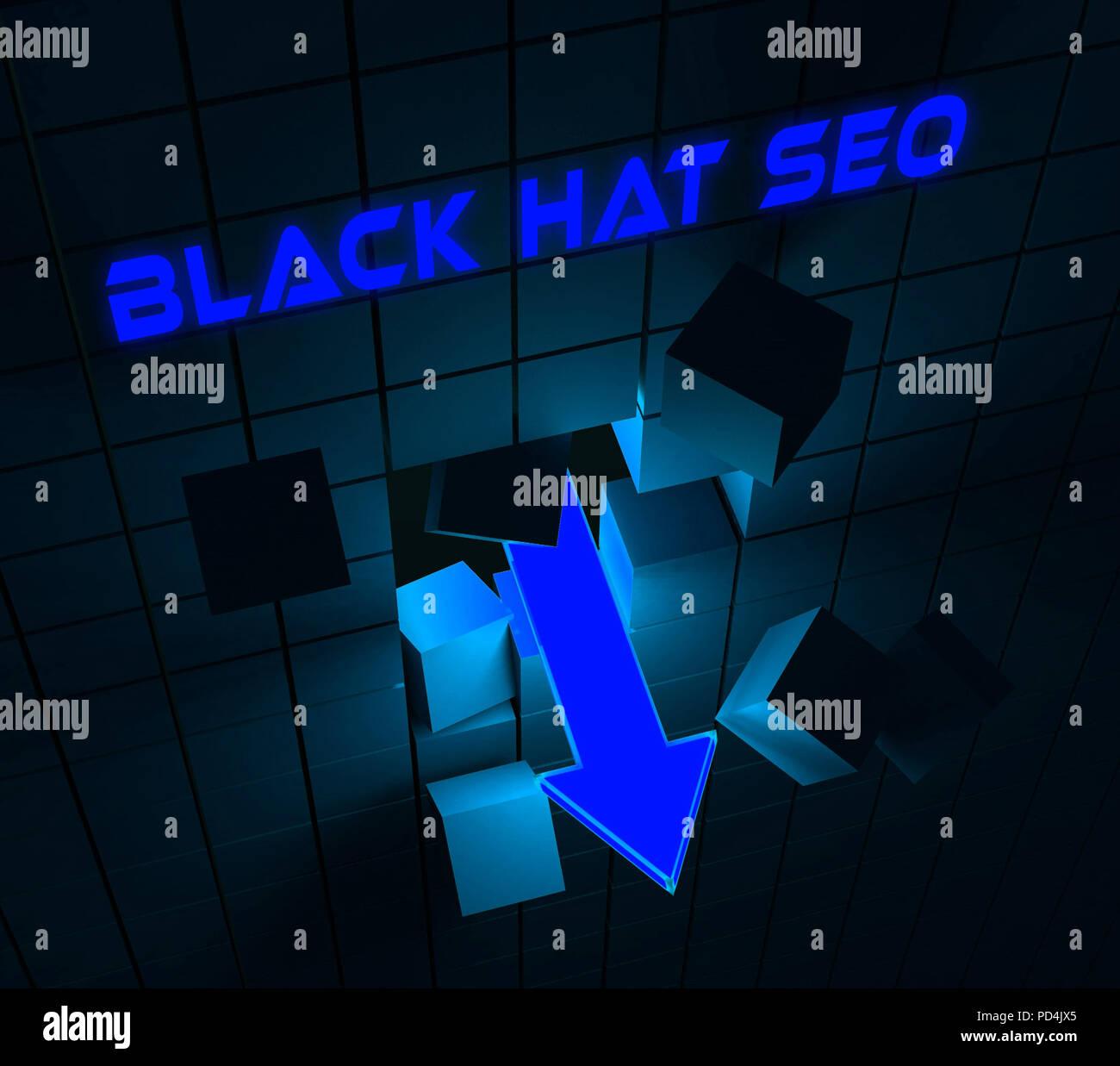 Black Hat Seo Website Optimization 3d Rendering Shows Search