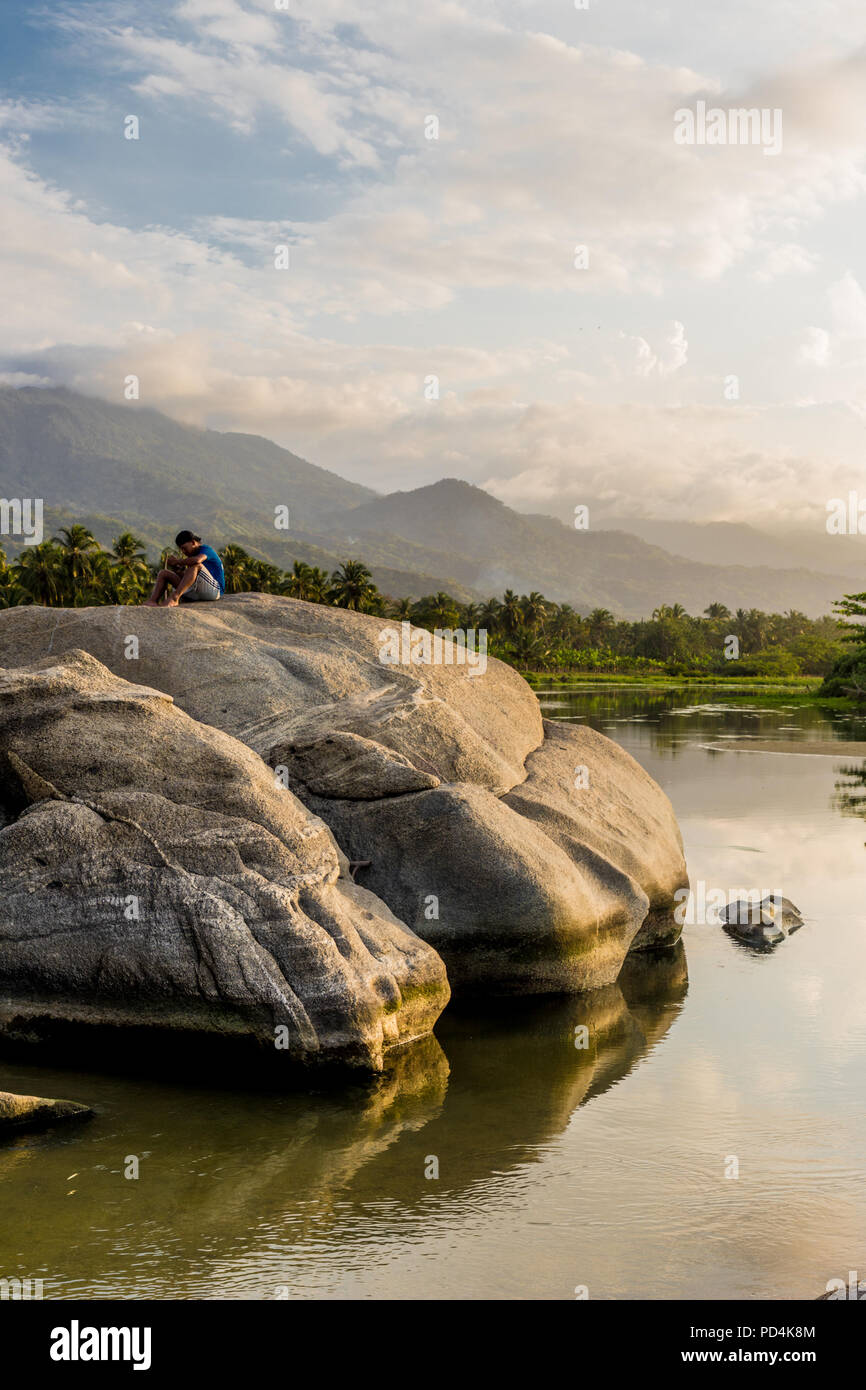A view of Los Naranjos Beach in Santa Marta Colombia. Stock Photo