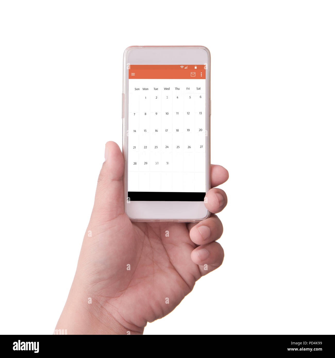 hand holding smart phone with schedule - Stock Image