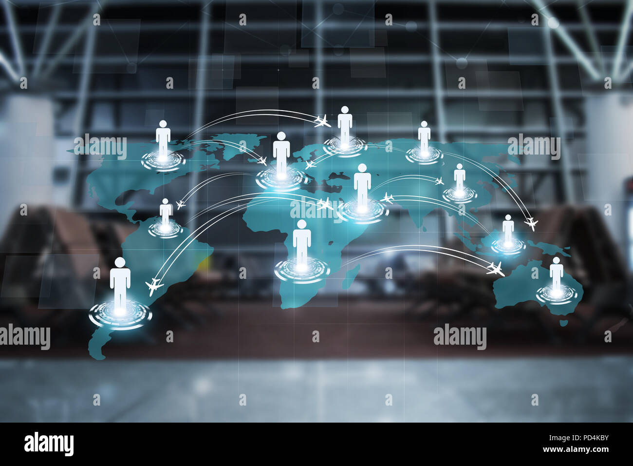 concept global aviation people directions business background - Stock Image