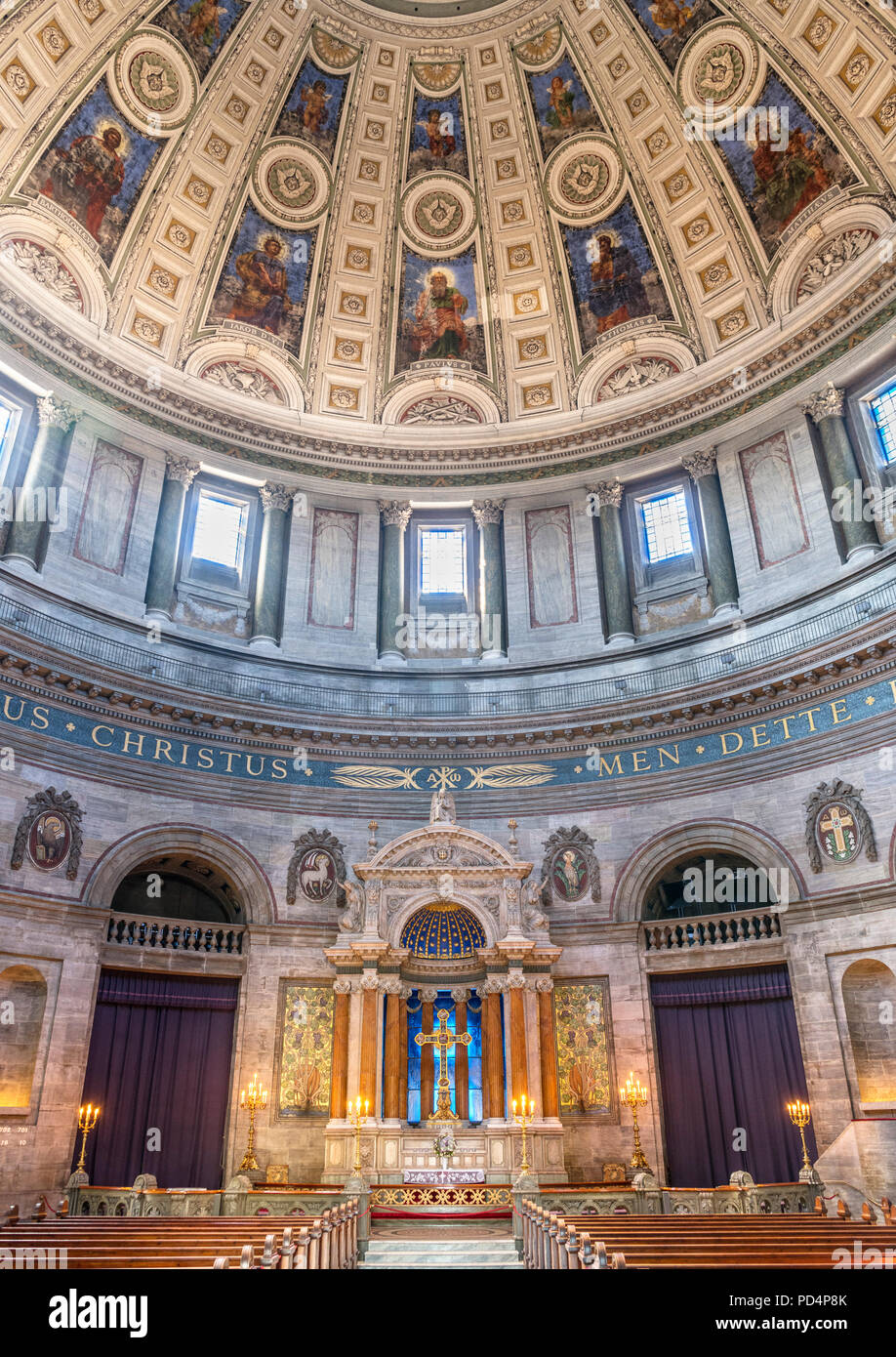 Interior of Frederiks Kirke (Frederik's Church), known as Marmorkirken (The Marble Church),  Frederiksstaden, Copenhagen, Denmark - Stock Image