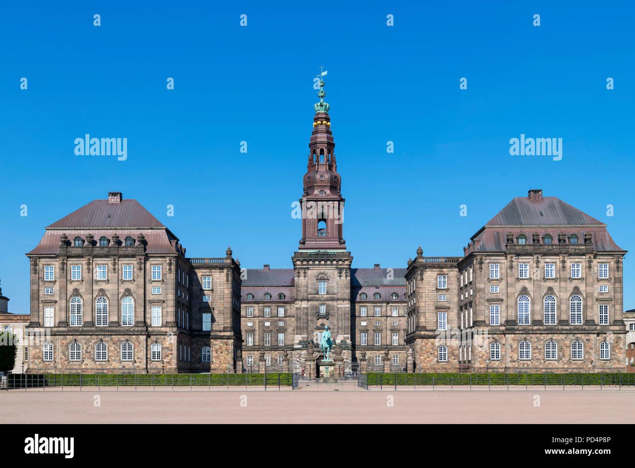 Rear of Christiansborg Slot (Christiansborg Palace), home to the Danish Parliament (Folketinget), Slotsholmen, Copenhagen, Denmark - Stock Image