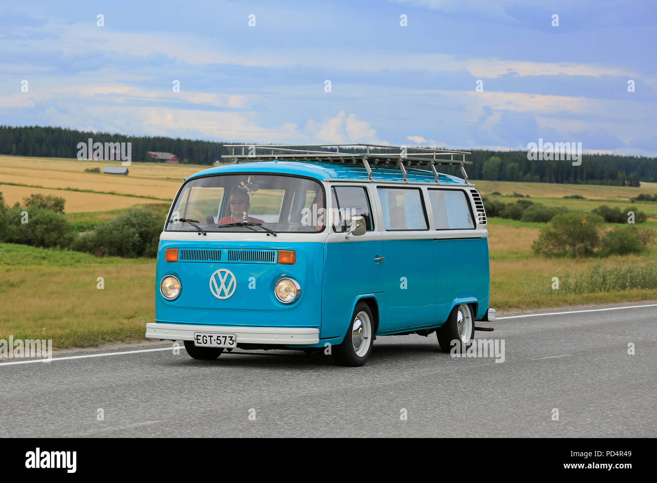 VAULAMMI, FINLAND - AUGUST 4, 2018: Classic Volkswagen turquoise and white Type 2 camper van on Maisemaruise 2018 car cruise in Tawastia Proper, Finla - Stock Image