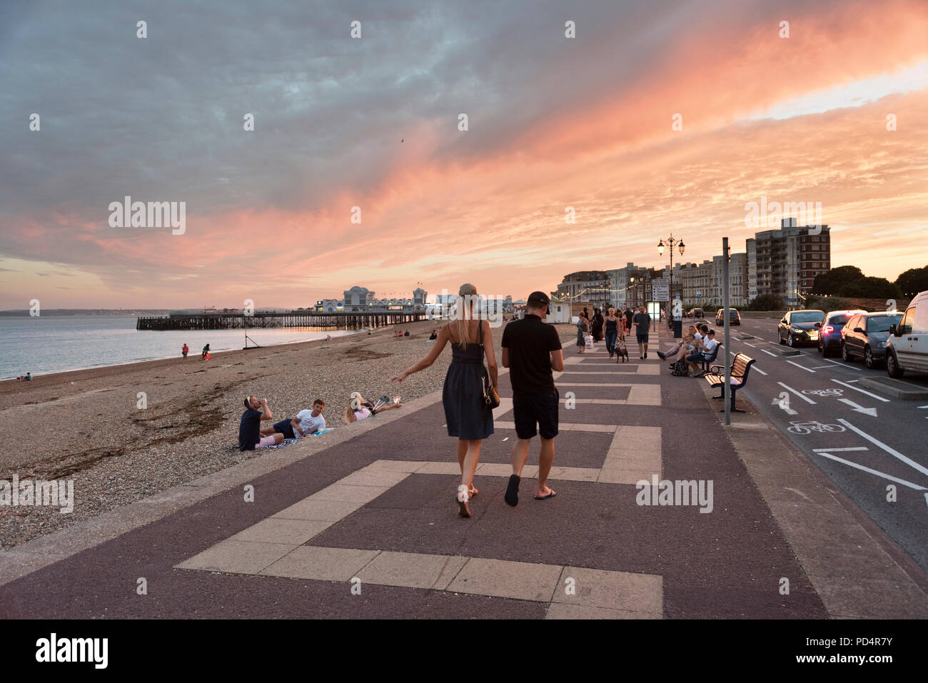 A Summer's evening on Southsea seafront during the heatwave of Summer 2018 - Stock Image