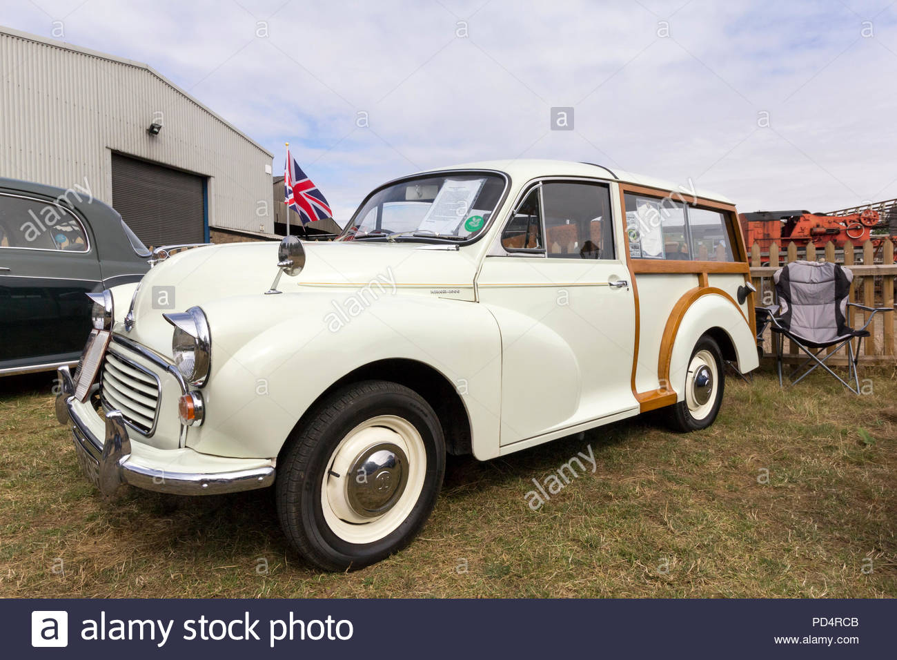 Austin Morris Minor 1000 Traveller on display at a classic car show - Stock Image