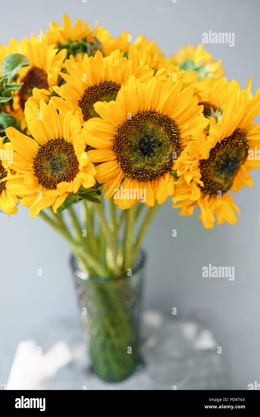 Bouquet of yellow sunflowers flower in vase on old vintage table bouquet of yellow sunflowers flower in vase on old vintage table room morning gray background colors of autumn and mood fall mightylinksfo