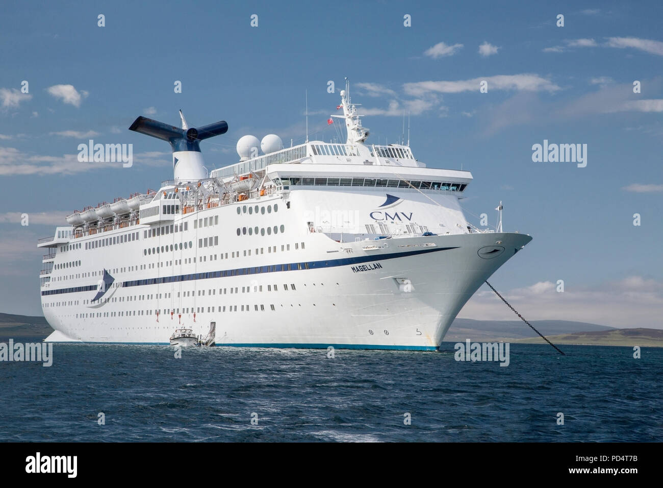 MS Magellan, a Cruise and Maritime Voyages cruise ship, at anchor in Orkney, Scotland - Stock Image