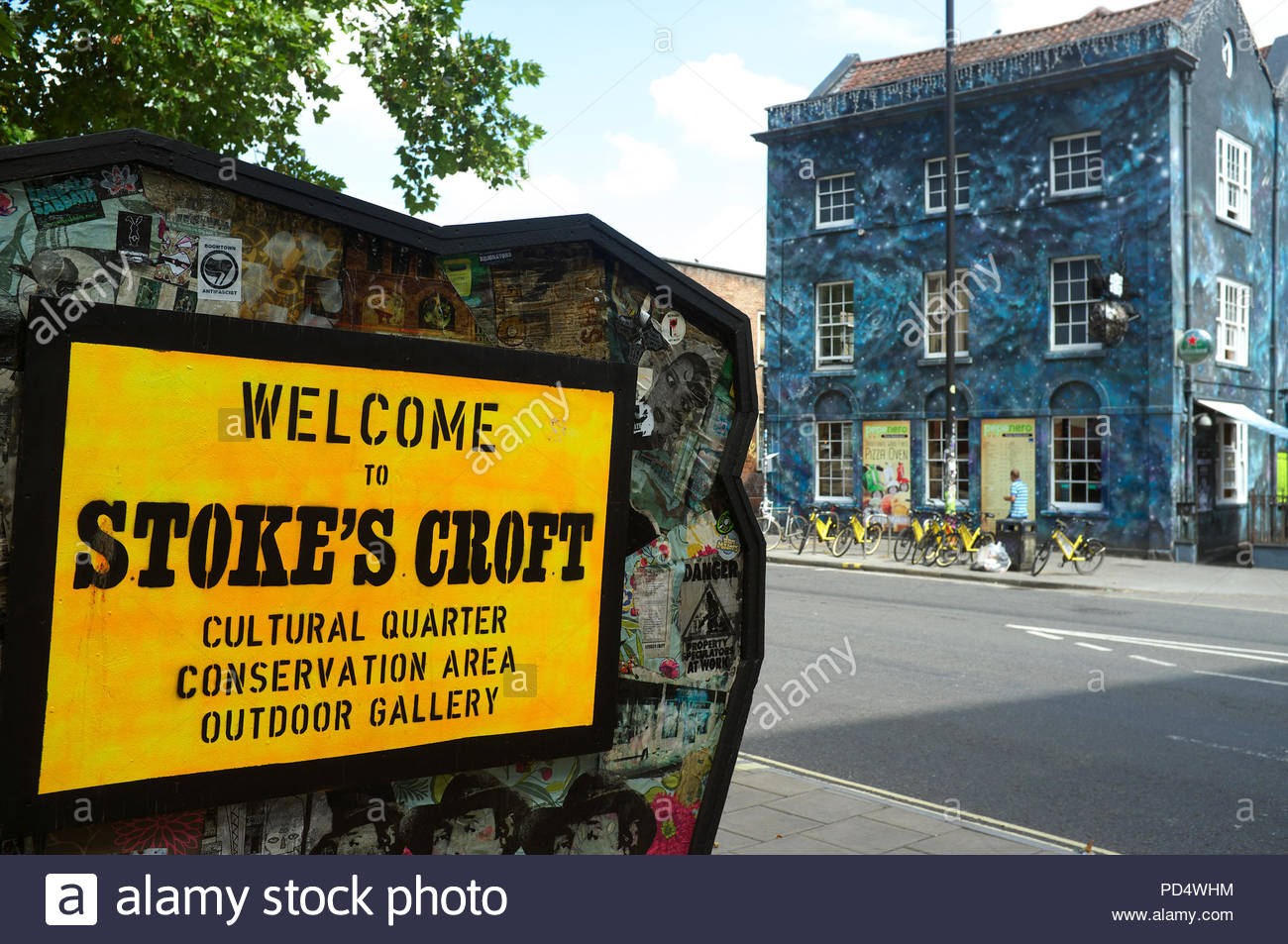 Welcome to Stoke's Croft - unofficial sign in the creative counter-culture area of Bristol, UK. - Stock Image