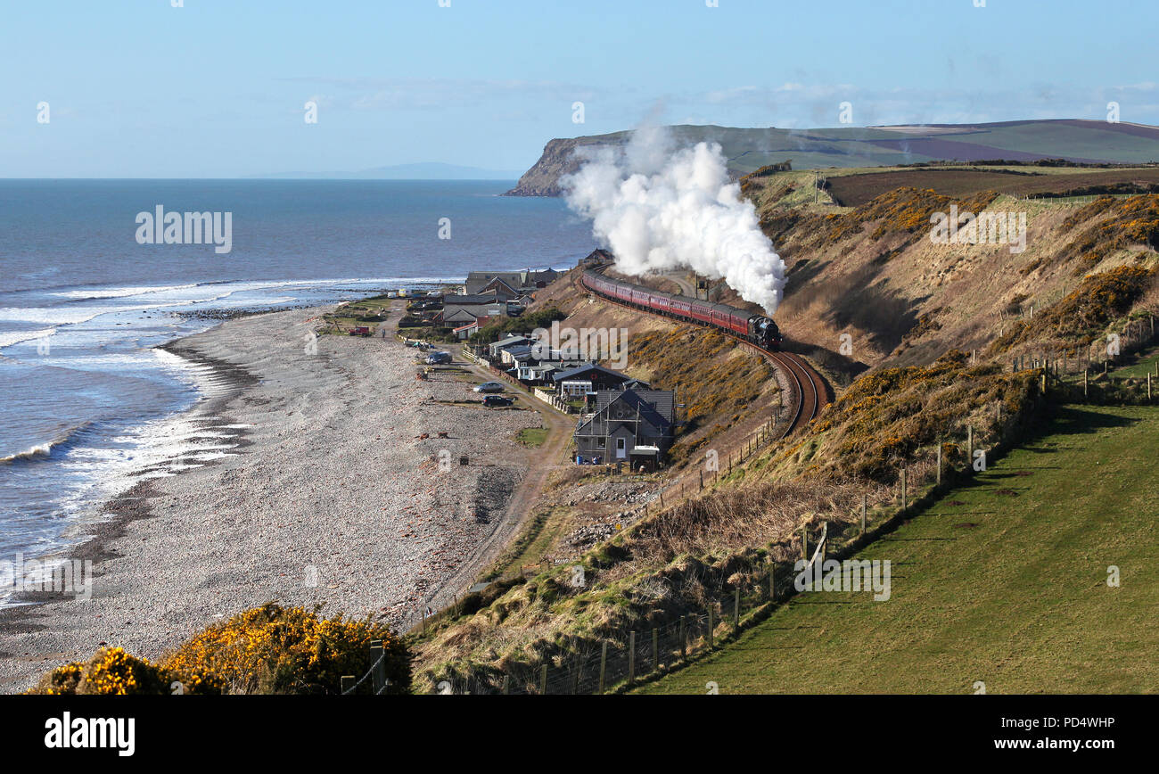 45690 heads towards Nethertown on 24.3.18 with the Cumbrian Coast Express. - Stock Image
