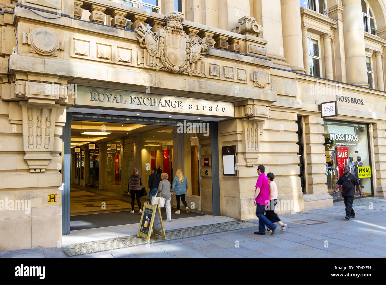 Entrance to Royal Exchange Arcade, Manchester. - Stock Image