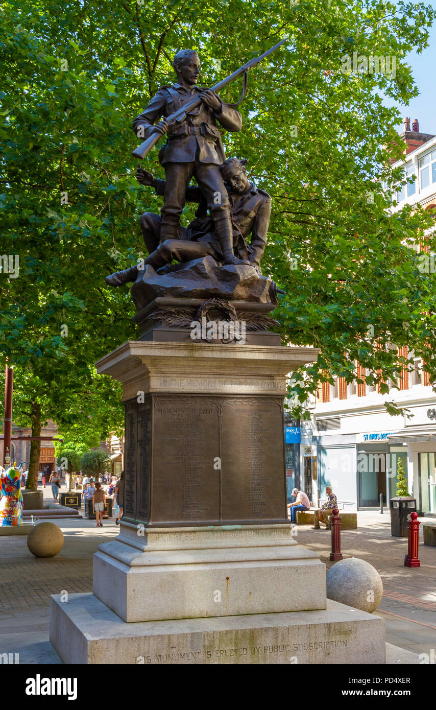 Boer War Memorial in St Anns Square Manchester - Stock Image