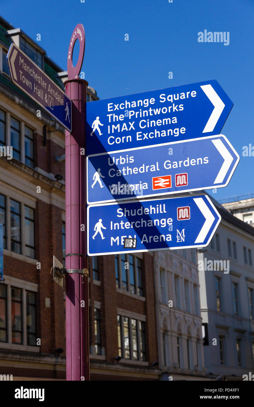 Wayfinding sign on the corner of St Annes Square, Manchester. - Stock Image