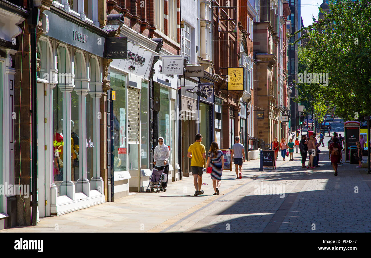 Shops in King Street in Manchester City Centre - Stock Image