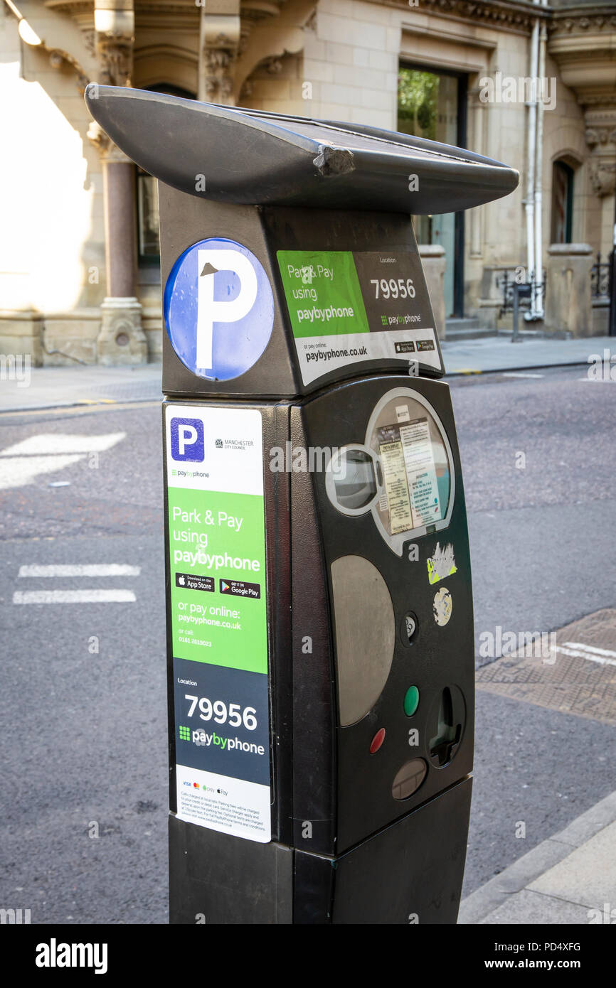 Parking meter in Manchester City Centre - Stock Image